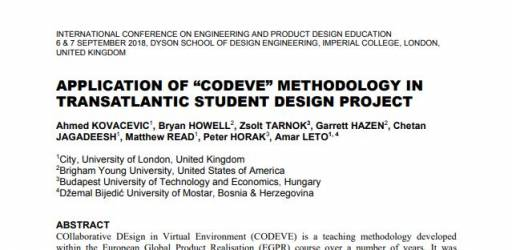 "APPLICATION OF ""CODEVE"" METHODOLOGY IN TRANSATLANTIC STUDENT DESIGN PROJECT"